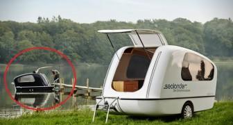 Sembra una normale roulotte, ma aspettate che si avvicini alla riva del lago...