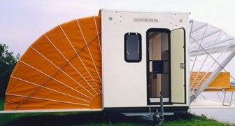 De Markies, der kuriose und abenteuerliche ausfahrbare Camper, ein Werk eines holländischen Architekten