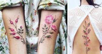 Tatouages floraux qui semblent réels: la perfection délicate d'une petite œuvre d'art