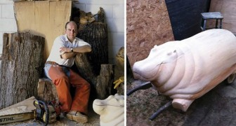Il unit des sculptures en bois et des plaques de verre: voici ses tables hors du commun