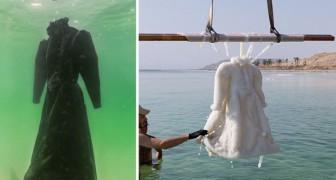 Immerge un abito nel Mar Morto per 2 anni. Il risultato? Un'opera d'arte!