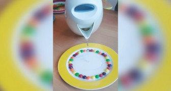 Place several candies on a plate --- pour hot water and see the surprise!