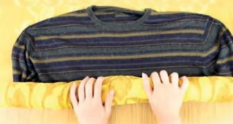 Deze trui is gekrompen... maar met deze truc biedt uitkomst. Een kind kan de was doen!