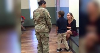 A female soldier comes home early --- her son's reaction is touching!