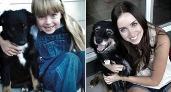 A 10 anni di distanza: ecco le adorabili foto prima/dopo di cuccioli cresciuti con i bambini