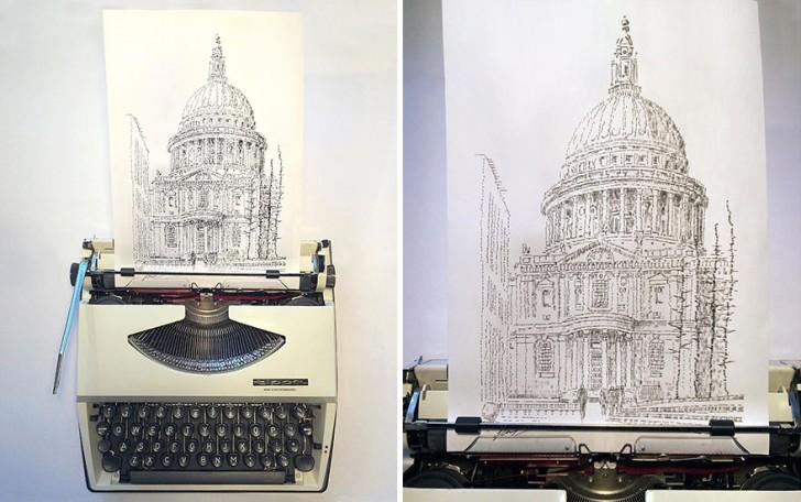 Un ragazzo crea disegni dettagliatissimi usando soltanto una macchina da scrivere