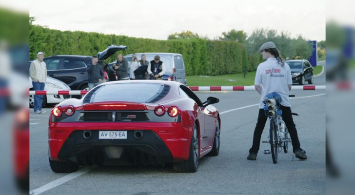 A Ferrari races against a