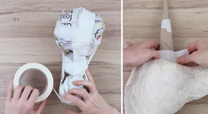Ze maakt een aantal proppen papier en eindigt met een klein kunstwerk... ideaal voor kinderen!