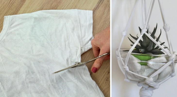 Zo maak je een bloempothouder van een oude t-shirt - zonder naald en draad!