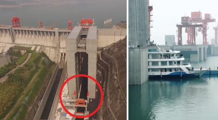 Construit en Chine, voici le plus grand ascenseur POUR NAVIRES: regardez-le en action!