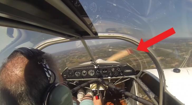 Levanta vuelo pero se da cuenta que algo no va bien: miren que cosa ocurre al helice, increible!
