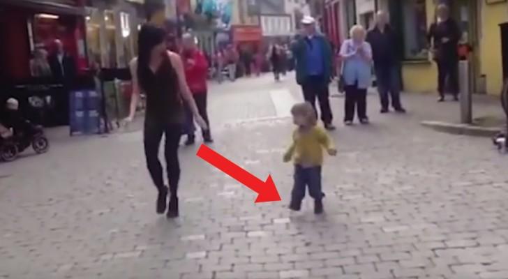 L'artista di strada si esibisce con la danza irlandese... ma a dare spettacolo è qualcun altro!