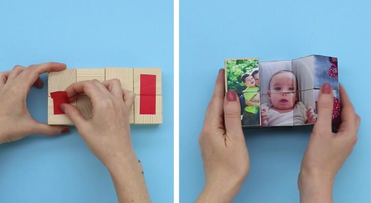 Veja como criar um porta-retrato MÁGICO usando 8 cubos de madeira e adesivo!