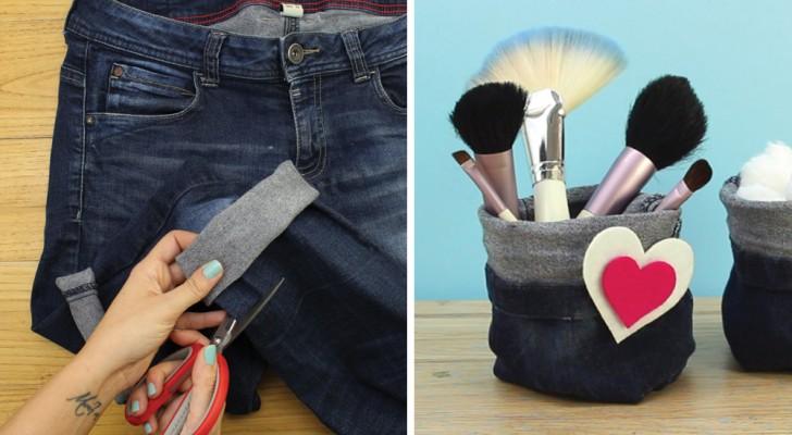 Zo recycle je oude spijkerbroeken om er multifunctionele opbergmandjes van te maken!