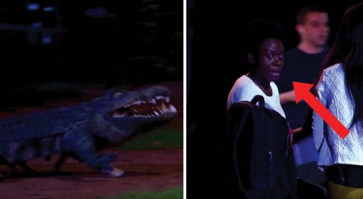Terrorisiert flüchten sie vor einem Krokodil, aber in Wirklichkeit ist es...eine Überraschung!