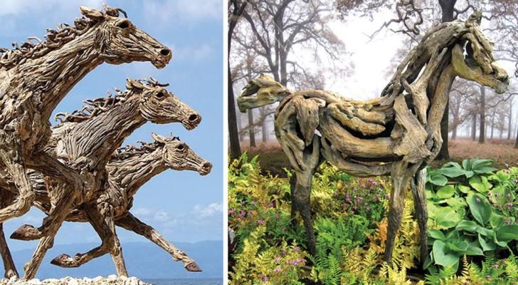 Questa donna raccoglie pezzi di legno DAL MARE e realizza sculture mozzafiato