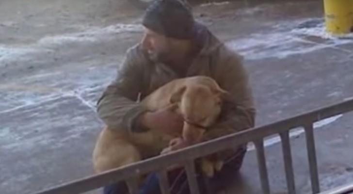 Vede un cane lasciato fuori al gelo: il suo gesto sta commuovendo il web