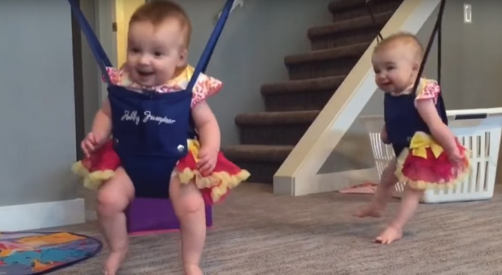 Twin Babies Dancing in sling swings --- Hilarious!