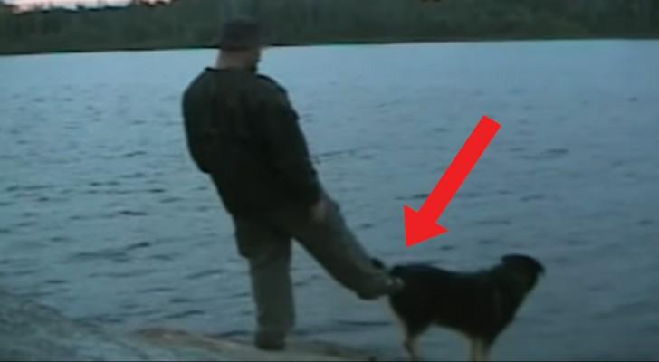 Il essaie de pousser le chien dans l'eau pendant qu'il pêche: la chose ne va pas se finir comme prévu!