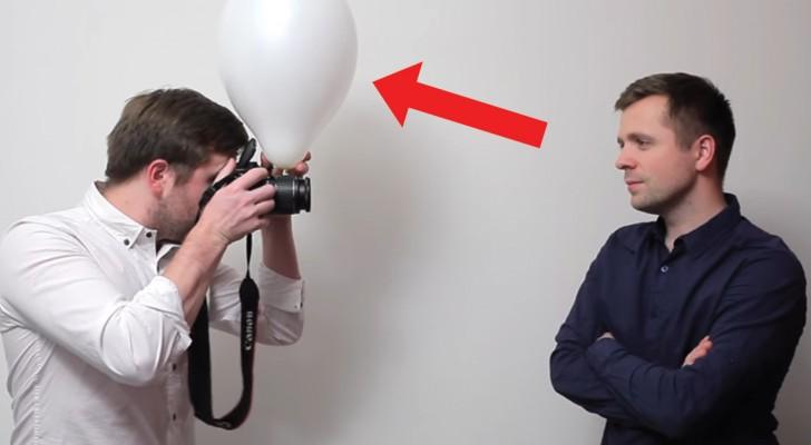 Han sätter en ballong framför kamerans flash: skillnaden är otrolig!