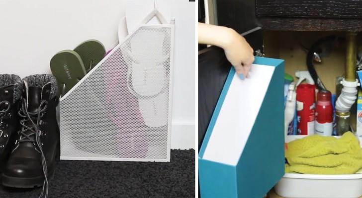 Usos creativos de las carpetas para documentos...En cada habitacion de vuestra casa