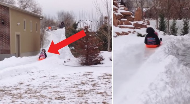 A father builds his kids a thrilling snow slide track! WoW!