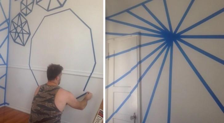 Sie kleben die Wände mit Klebeband ab und streichen sie dann: Als sie das Klebeband entfernen sieht man den genialen Effekt