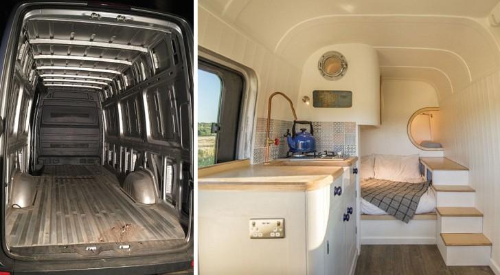 Een ingenieur geeft 18,000 dollar uit en tovert een busje om in een klein droomhuisje