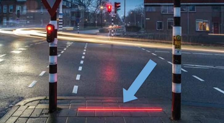 Ces feux rouges projettent par terre la lumière et sauvent la vie des piétons distraits... Pas mal!
