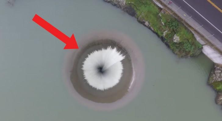 Mit der Drohne über dem Wasserabfluss: die Perspektive ist faszinierend