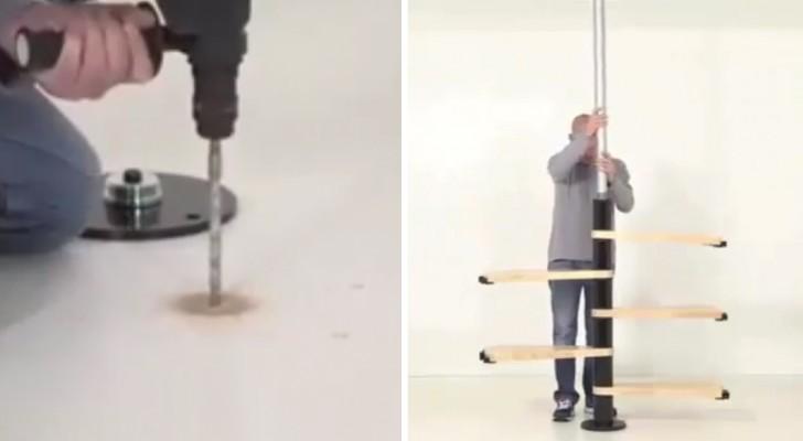 Hij monteert de verschillende onderdelen in een eenvoudige wenteltrap!