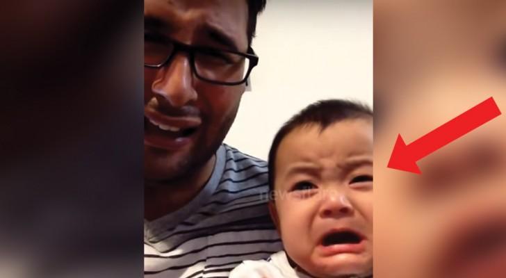 Le papa fait semblant de pleurer: la réponse de l'enfant est adorable
