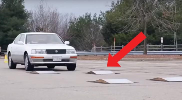 De futuristische elektromagnetische ophanging: kijk wat er gebeurt als een auto over hobbels rijdt