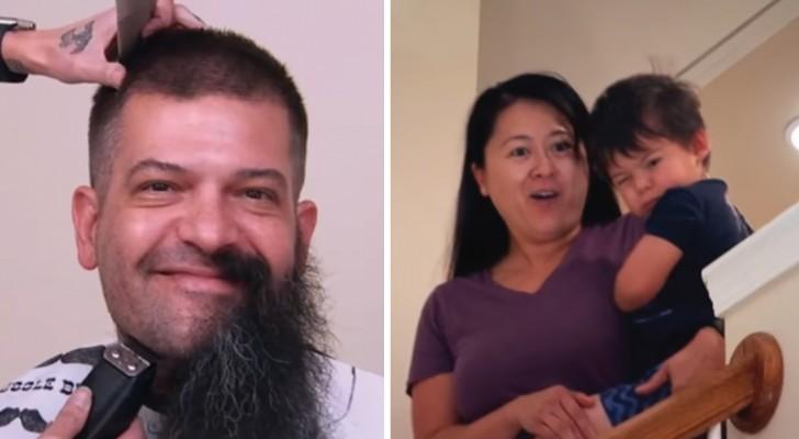 Queria que o marido tirasse a barba: quando ele o faz ela fica de boca aberta!