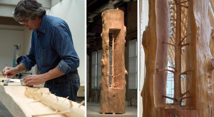 Dieser Mann hat die äußeren Ringe eines Baumes entfernt, um die original-Pflanze zu enthüllen... und vieles mehr