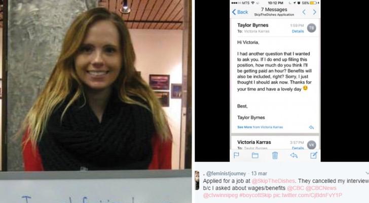 De sollicitatie van dit meisje werd geannuleerd nadat ze had gevraagd wat ze zou gaan verdienen