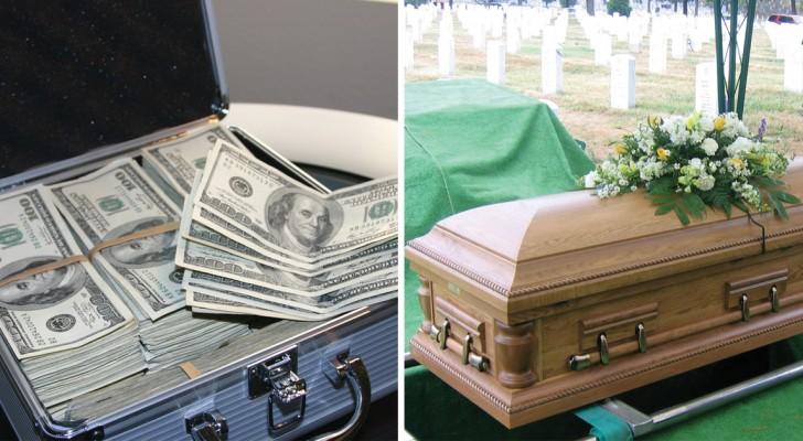 Haar man had de opdracht gegeven om met al zijn geld te willen worden begraven, maar zijn vrouw kwam met iets beters