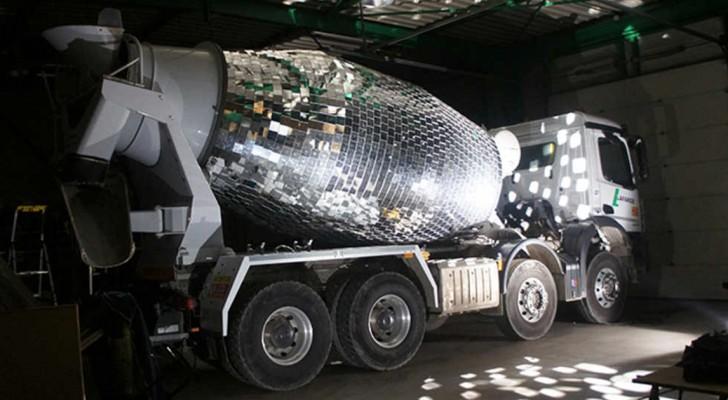 A giant cement mixer disco dance ball! A brillant idea!