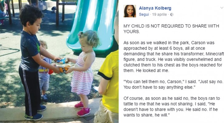 I vostri figli non devono condividere i giochi con gli altri bambini: questa mamma vi spiega il perché