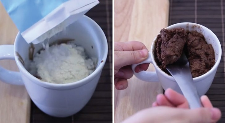 A delicious chocolate muffin ready in two minutes!
