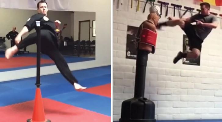 Le impressionanti evoluzioni di questi professionisti di arti marziali sembrano uscite da un film