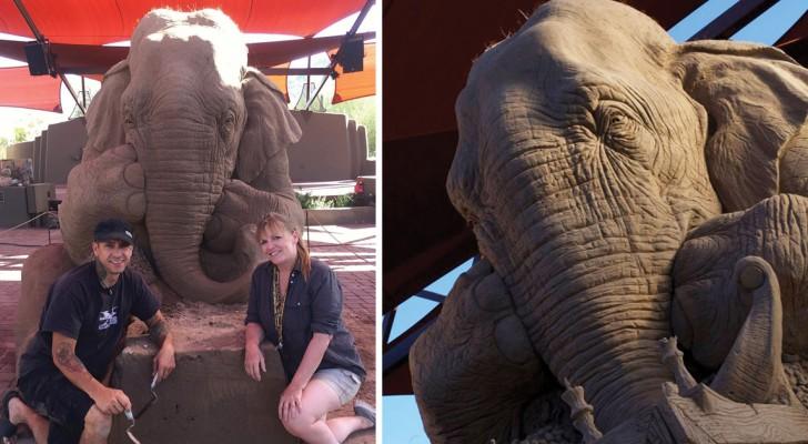 Deux artistes créent un éléphant de sable impressionnant: le résultat final a dépassé toutes les attentes