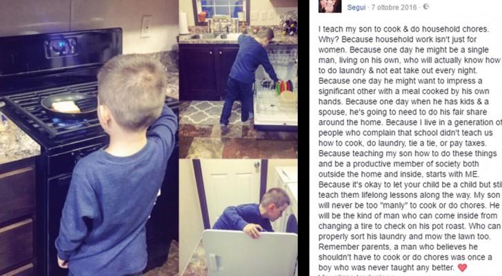 Elle publie les photos de son fils qui fait le ménage: sévèrement critiquée, sa réponse est exemplaire