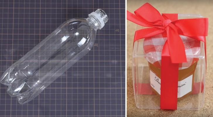 Come creare una confezione regalo trasparente riciclando una bottiglia di plastica
