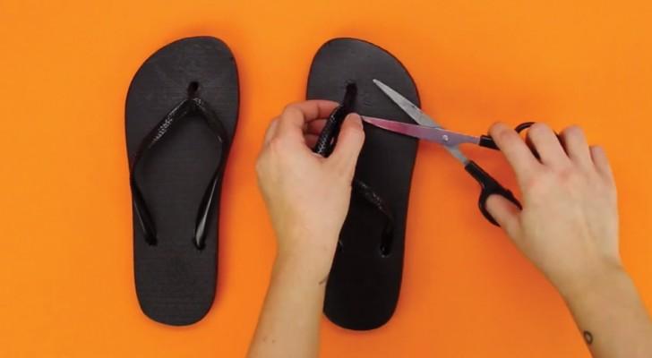 Knip de veters uit slippers en creëer in een paar moves originele sandalen