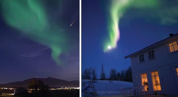 Collezionano ore ed ore di osservazione del cielo: il video è uno spettacolo di aurore boreali e stelle cadenti