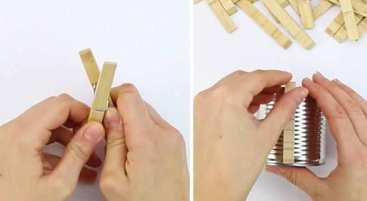 Apre le mollette di legno e le incolla su un barattolo... un fai da te semplice per liberare la fantasia