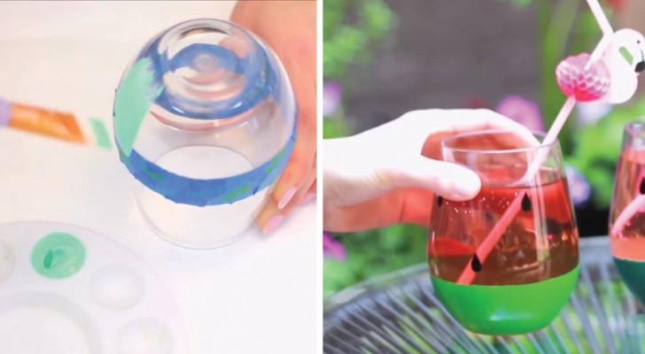 Colora la parte inferiore e ottiene dei bicchieri-cocomero perfetti per l'estate (e infrangibili!)