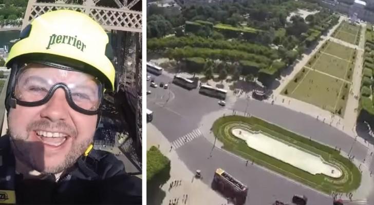 Ecco cosa vuol dire lanciarsi dalla Torre Eiffel a tutta velocità...