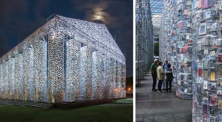 Een kunstenaar gebruikt 100 duizend verboden boeken om een Griekse tempel neer te zetten op de plek waar nazi's 2000 boeken hadden verbrand
